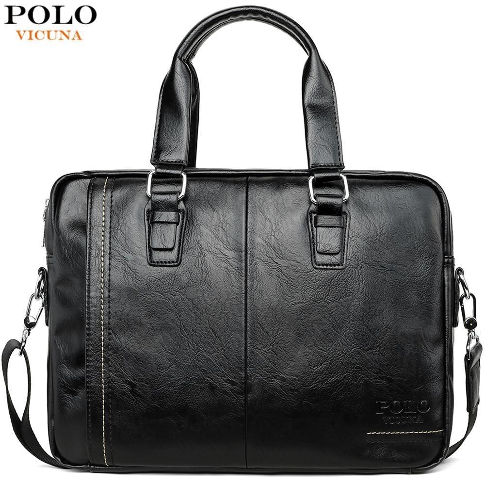 VICUNA POLO der neuen Ankunfts-Qualitäts-Leder-Mann-Kurier-Beutel-Beutel-Set der Marken-Männer Aktenkoffer Geschäfts-Laptop-Männer Handtasche SH190918