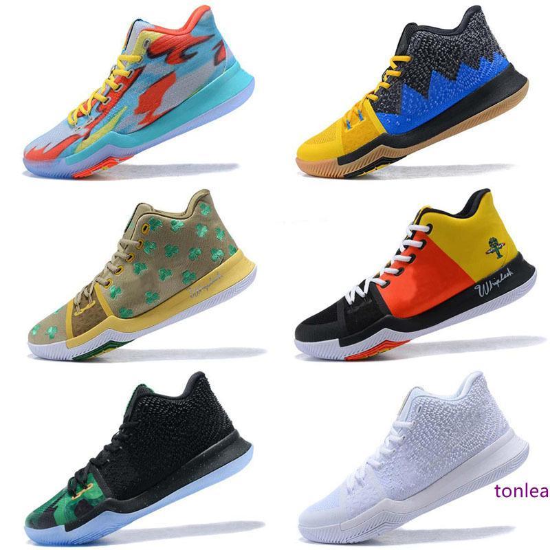 Бесплатная доставка Irving 3 Luxury замша мужской обуви Баскетбол Пепел привидение Равенство вышивка издание черный BHM граффити тренеры кроссовки