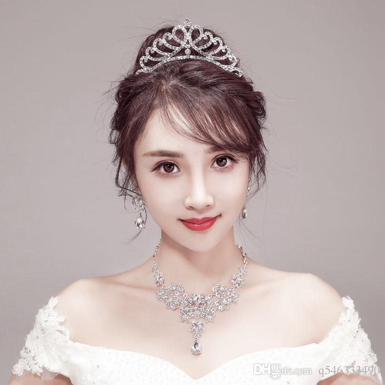 Свадебные аксессуары тиара свадебные аксессуары для волос корона узел свадебные украшения из трех частей корейский жемчужное ожерелье