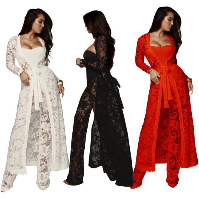 Schwarz Weiß Rot-trägerlose Spitze durchschauen Strampler Sexy Frauen Cardigan Coat + Body + lange Hose 3 Stück Overall Plus Size-Anzüge