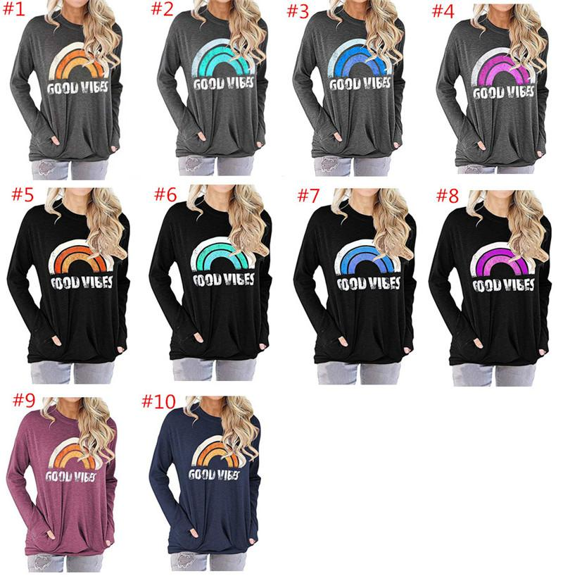 Мода Женщины ХОРОШО VIBES толстовки осень Толстовка с длинным рукавом O-образным вырезом Радуга Printed Толстовка пуловер Сыпучие Sweatshirs Дизайн Tops одежды
