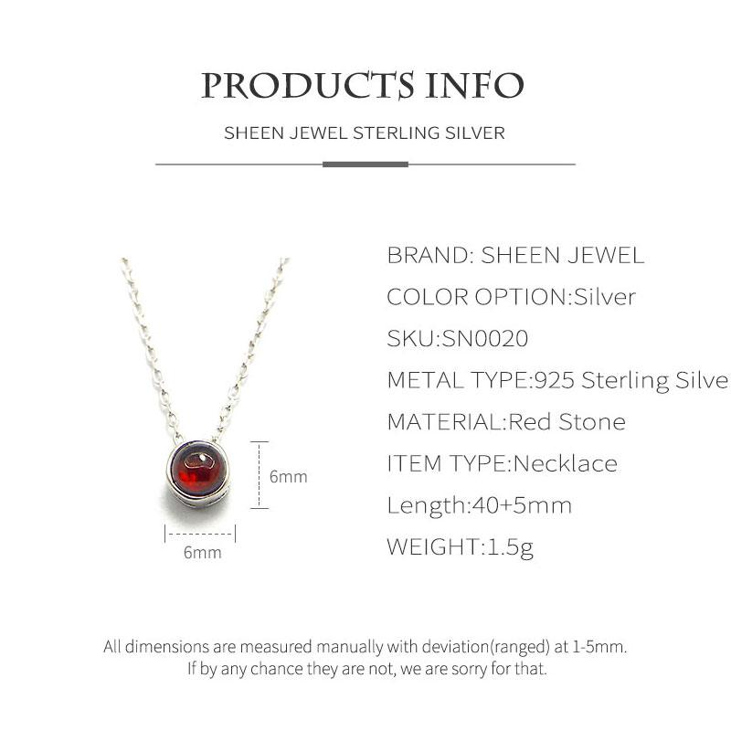 Silver 925 Jewelry Fashion Simple Red Round Necklace Elegant Quality 925 Sterling Silver Necklace for Women