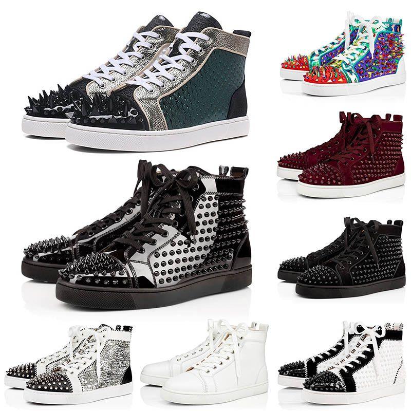 2020 nuevo diseñador as rojo zapatos inferiores de hombres Zapatos de las mujeres ocasionales de la plataforma de Spike Bottoms marca de lujo de bajo corte del alto de las zapatillas de deporte