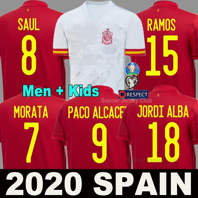 2020 년에 스페인 축구 저어지다 흰색 PACO ALCACER asensio 의 모라 타 이스 코스에 남자 아이 kit 유럽 컵 축구 셔츠 camisetas de 축구