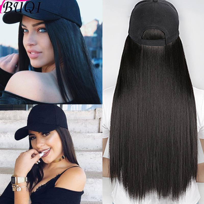 BUQI Hair 24 inches long straight hair synthetic wig with hat black brown gold suitable for female high temperature