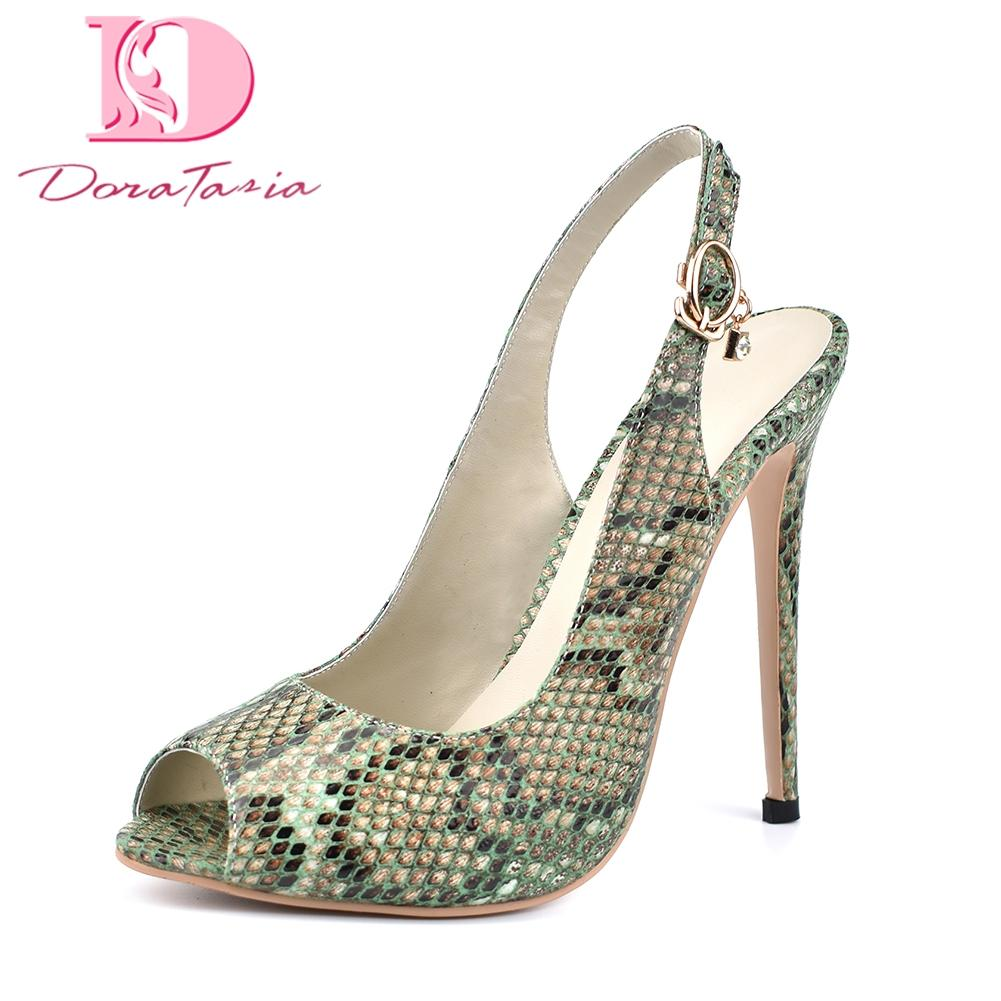 wholesale brand new green snake print plus Size 42 dropship sexy peep toe sandals women Shoes High Heels top quality shoes woman