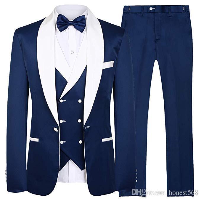 Splendido scialle bavarese Groomsmen One Button Smoking dello sposo Abiti da uomo Matrimonio / Ballo / Cena Best Man Blazer (Giacca + Pantaloni + Cravatta + Gilet) 076