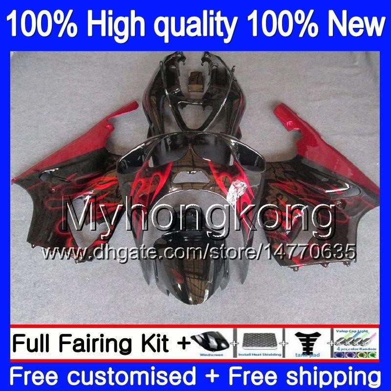 Kropp för Kawasaki ZX-7R 1996 1997 1998 1999 2003 203MY.0 ZX-750 ZX 7 R ZX 750 ZX750 ZX 7R ZX7R 96 97 98 99 00 01 02 03 Fairing Red Flames