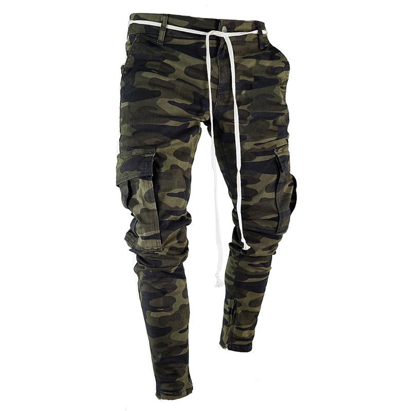 expédition de baisse Camouflage Streetwear Harem Pantalons pour hommes Casual Slim Fit Sweatpants hommes multi-poches Pantalon Camo hommes Joggers LBZ24 T200104