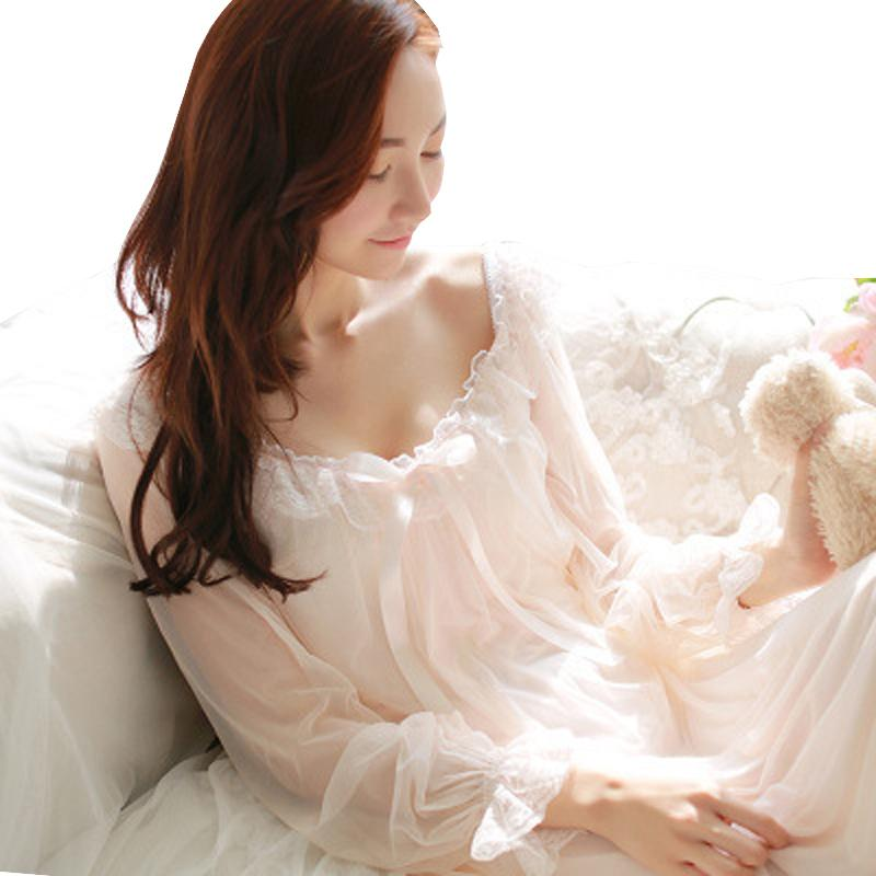 Womens Soft Elegant Long Nightgowns Female Sweet Princess Sleeping Home Dress Lady Lace Sexy White Pink Nightdress Nightclothes Y19051701