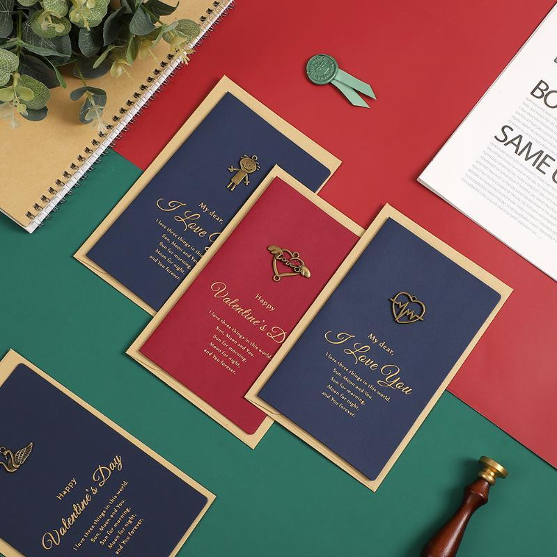 Jianwu 1pc Preto Alto grau envelope cartão Stereoscopic bronzeadores Convite do cartão de exploração agradece cartões kawaii