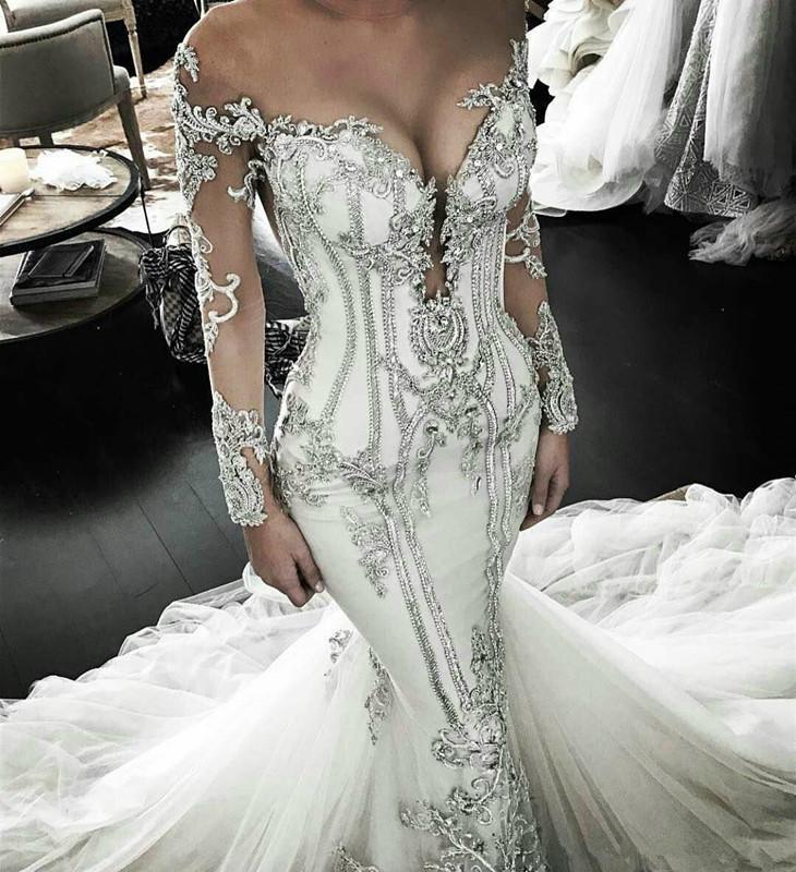 Роскошные Бисероплетение Sexy декольте Русалка Свадебные платья Длинные развертки поезд тюль свадебное платье Труба Свадебные платья