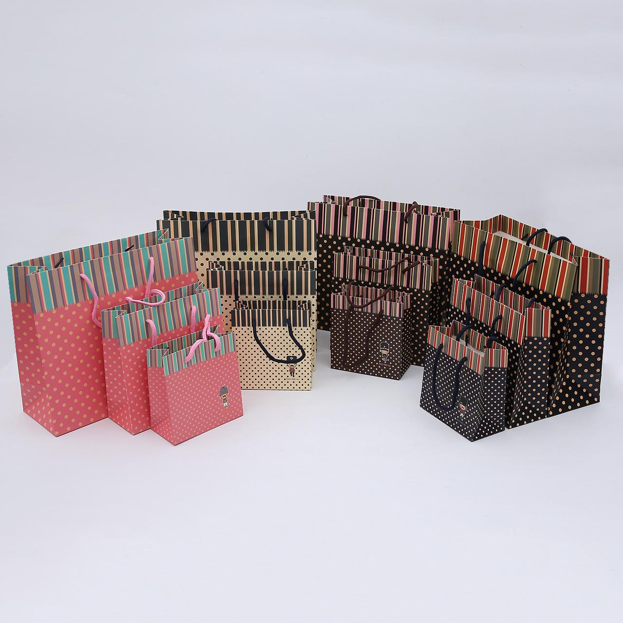 20Pcs/set Best selling simple portable paper bag candy color portable kraft paper bag custom fashion green shopping packaging paper bag