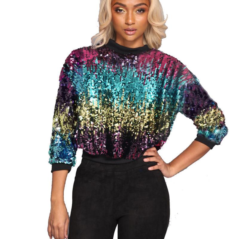 2020 Moda Yeni Yuvarlak Boyun Gelgit Sıcak Satış Trendy Renkli Kazak Sequins Giyim Kazaklar R049