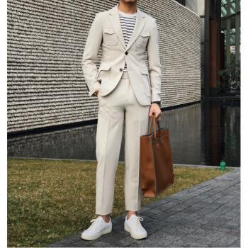 2019 primavera traje de los hombres de la moda coreana de dos piezas retro delgado traje británico masculino