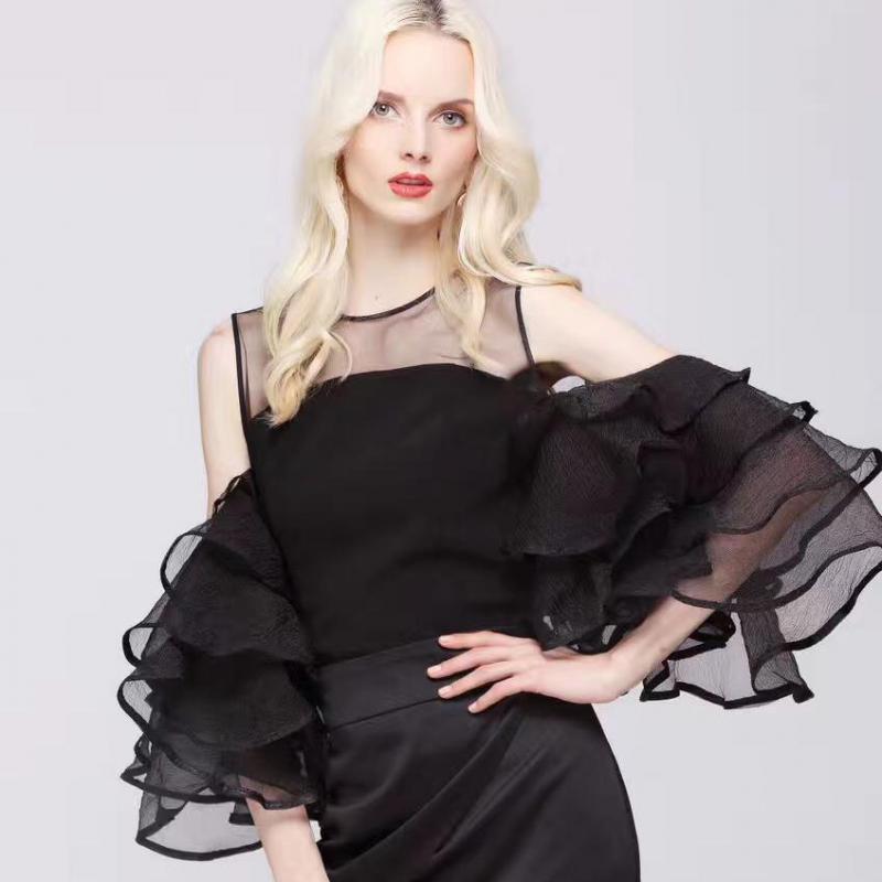 Johnature 2019 Summer Fashion der neuen Frauen Tops Süße Spitze kräuselt Schmetterling Hülse O-Ansatz weg von der Schulter Bluse festes Chiffon- Hemd