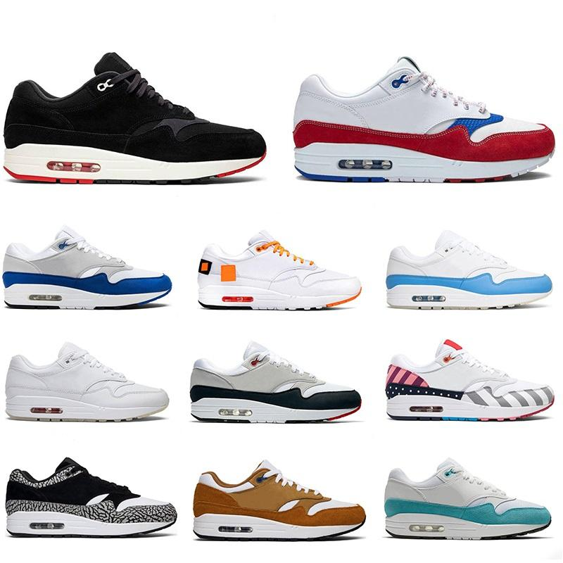 Nike Air Max 87 87 aniversário de 1 87s Mens Atomic Running Shoes Real remendo Teal Parra Puerto Rico Homens Mulheres Sports Sneakers Tamanho 36-45 frete grátis