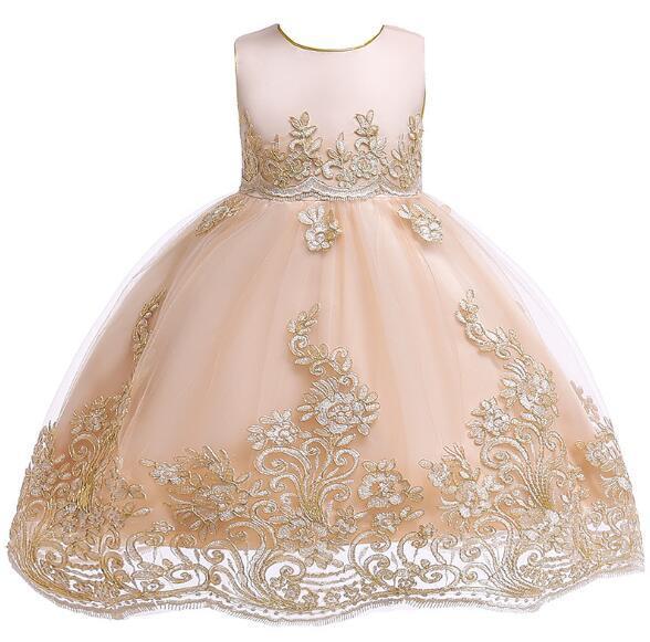 Cute Blue White Pink Little Kids Infants Flower Girl Dresses Princess Jewel Neck Short Formal Wears for Weddings First Communion Dress XF21