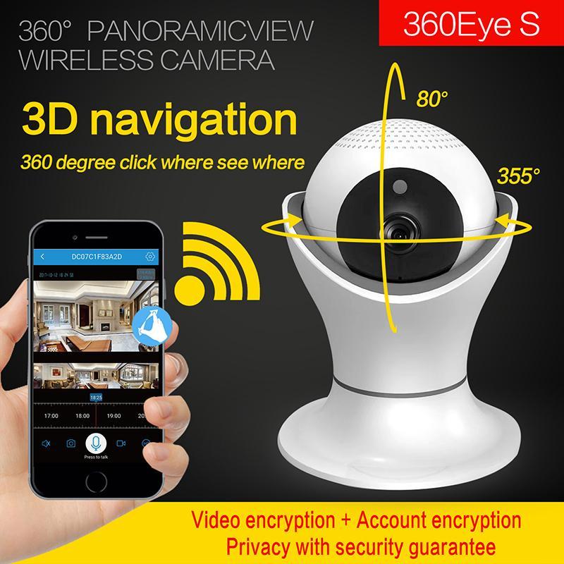 1080p HD WiFi Videoövervakningskamera 360 graders IR Nattvisionskamera Hem Säkerhet IP-kamera Trådlöst nätverk CCTV-videokamera