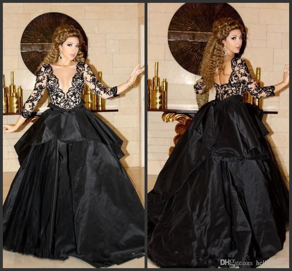 2020 Yeni Balo Siyah Teffeta Uzun Kollu V Yaka Gelinlik Modelleri Ucuz Seksi Dantel Zarif Abiye Giyim Partisi Resmi Modelleri