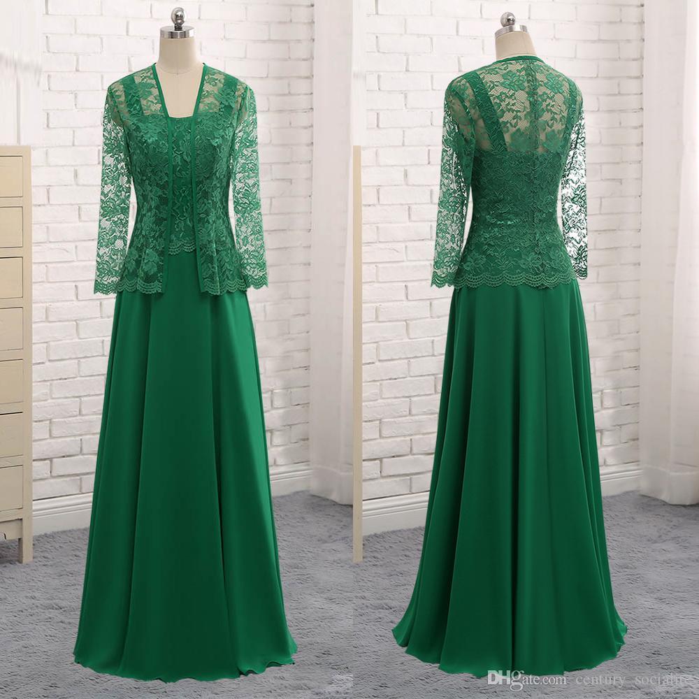 Elegantes vestidos de madre de la novia con chaqueta de talla grande A-Line 2019 Vestidos de noche Mangas largas Encaje Gasa Largo piso