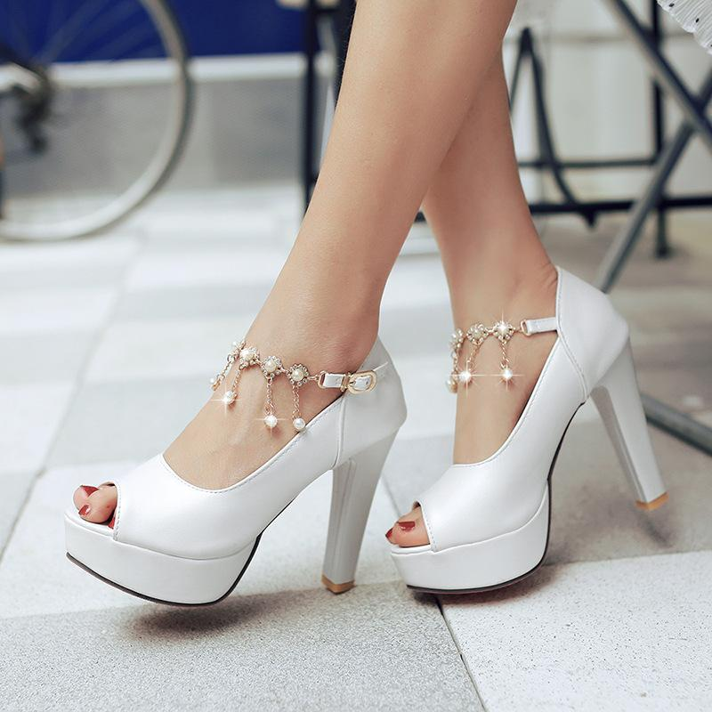 Sexy2019 Grace Lithe Waterproof Platform Coarse High With Luxurious String Of Beads Chain Peep-toe Sandals P180