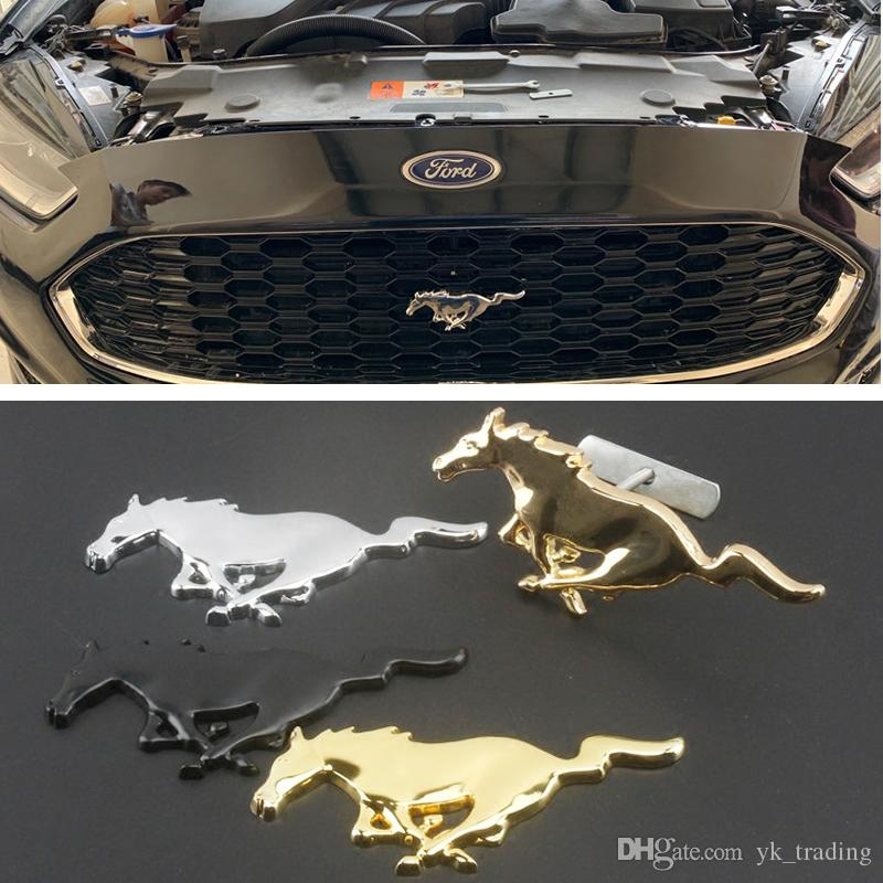 For Ford Mustang Shelby GT 3D Metal Chrome Silver Running Horse Front Head engine Hood Grill Emblem Badge