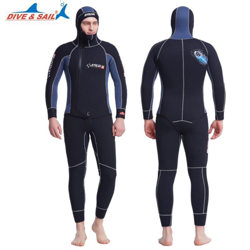 DiveSail мужские полные подводная охота гидрокостюмы 5 мм с капюшоном гидрокостюм 2 шт копье рыбалка молния подводное погружение плюс размер xxxl