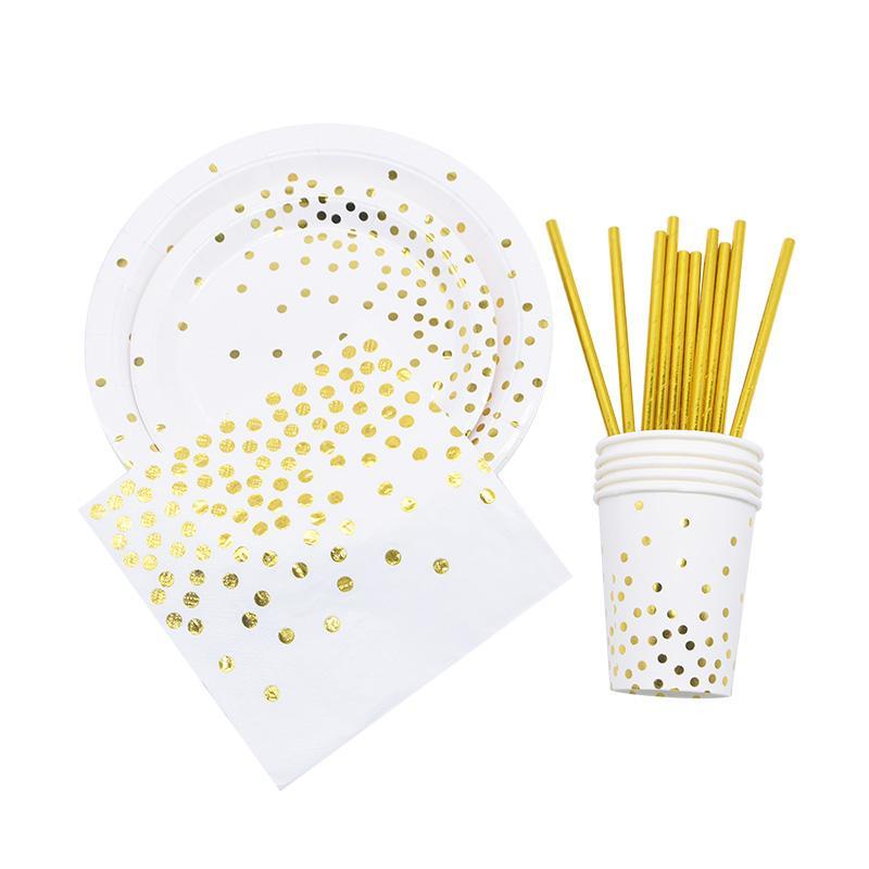 لوحات الذهب دوت مخطط أكواب القش ورقة إكليل راية للاستحمام الطفل زفاف عيد ميلاد الحزب اطفال المتاح أدوات المائدة