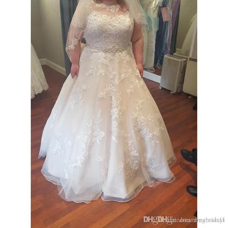 Простые Плюс Размер A Line Свадебные Платья 2019 Новый С Коротким Рукавом Длиной До Пола Кружева Аппликация Свадебные Платья Свадебное Платье