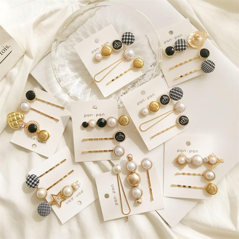 New Metal Hairpin Crown Button Pearl Star Hairpin Word Clip Liu Seaside Clip Female Jewelry Gift