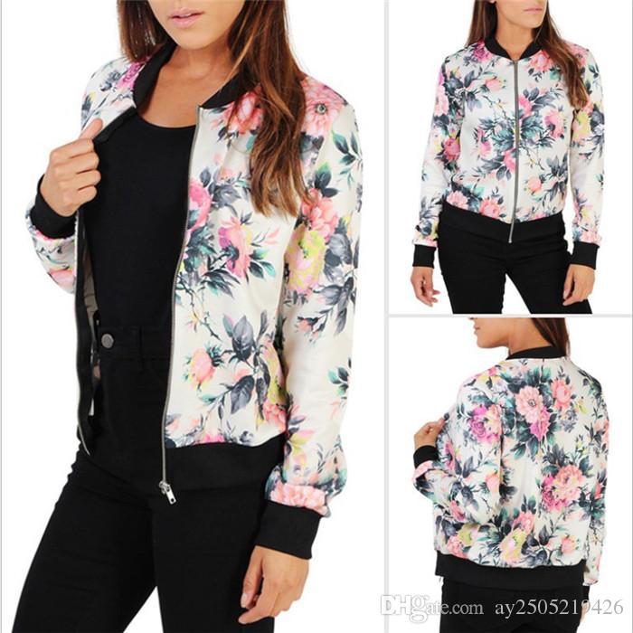 été gros et automne col à manches longues pour femme de la rose veste design imprimé zipper pull tendance des femmes