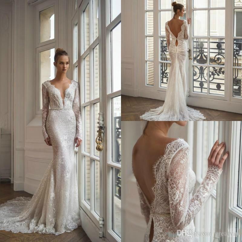 Mermaid Lace Wedding Dresses 2020 Long Sleeve V Neck Bridal Gowns Backless Appliqued Sweep Train Wedding Dress