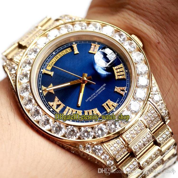 Новая Лучшая версия 228349RBR 228396TBR Синий Циферблат Япония Miyota Автоматическая 118338 Мужские Часы Sapphire Diamond Case Алмазный Ремешок Роскошные Часы