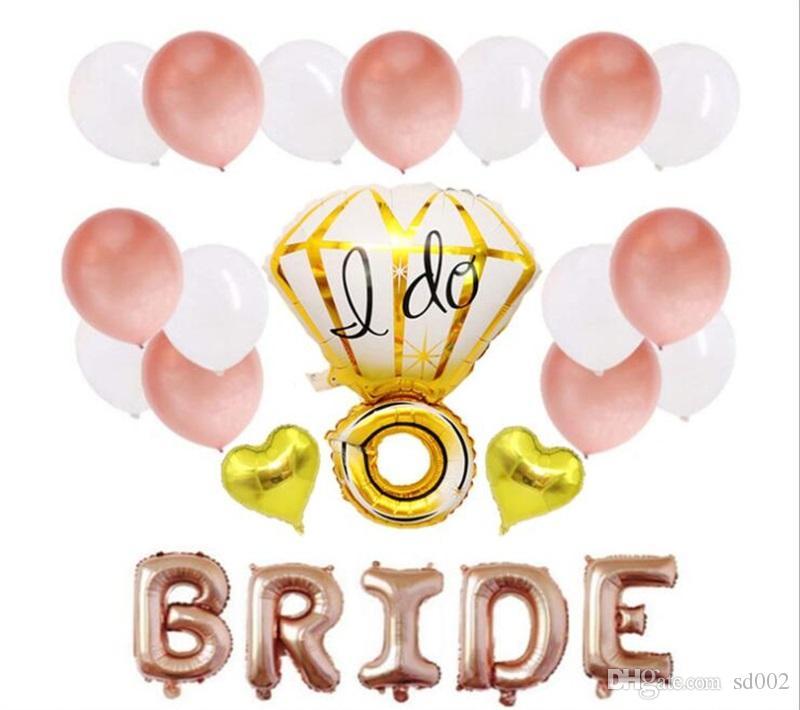 28-teiliger Anzug Junggesellenabschied Roségold-Ballon Hochzeitsfeier Ballons schmücken Anzug Ich mache Diamantringform Braut Brief 8 5hy A1