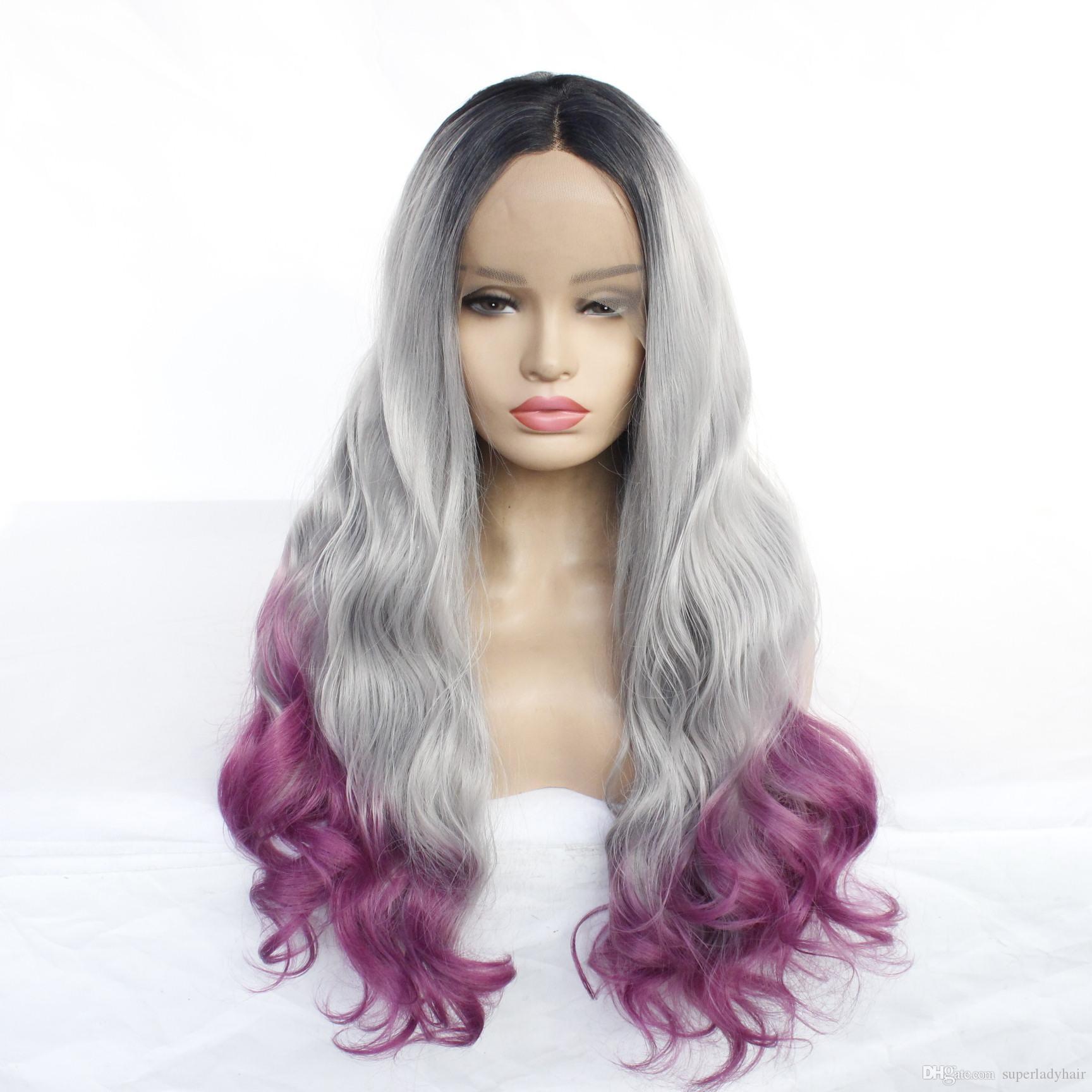 Natural onda teñido peluca negro gris púrpura sintético gradiente de tres colores pelucas de pelo ombre color del frente medio de encaje postizos peluca mano-atadas