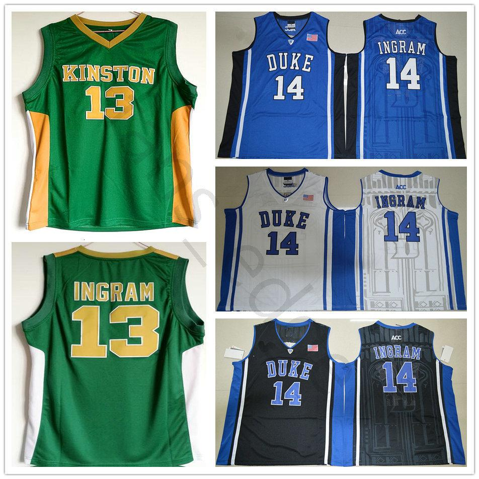 NCAA Kinston Highschool # 13 Brandon Ingram vert Basketball Jersey Cousu Duke Blue Devils Brandon 14 Ingram College Chandails Chemises