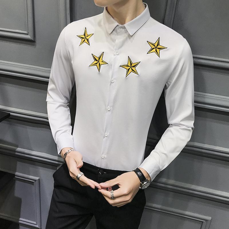 2020 Mens Long Sleeve Camisas de vestido Homens Black White Uniform Slim Fit Juventude Casual Wedding formal do negócio shirt Chemise Homme