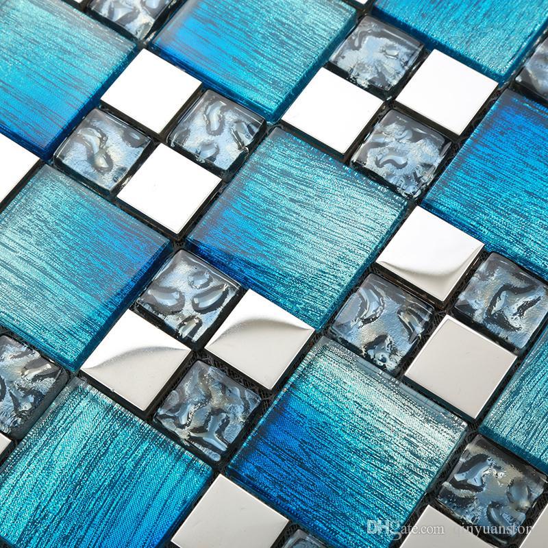 azulejos de mosaico de vidro azul pavimentos paver pobre verniz mosaico