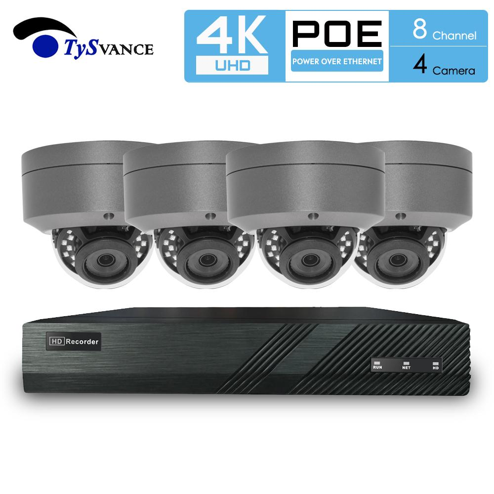 TySvacne 8MP 4K Ultra HD Security Camera System 8ch PoE NVR & 4 PoE Dome IP Cameras Surveillance 4CH NVR Kit
