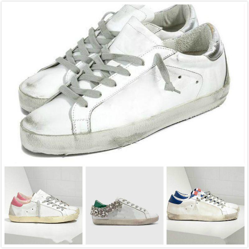 Italia Deluxe Marca las zapatillas de deporte de oro lentejuelas blanco clásico Do de edad sucios zapatos de diseño Superstar Hombre Mujeres Nueva Moda Casual Shoes