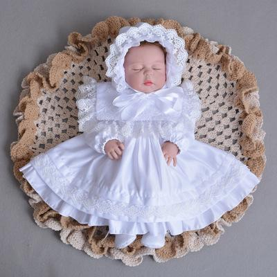Baby Girl Dress Toddler Girl White Ivory Long Sleeve Christening Gown 1 Year Birthday Party Dress Autumn Baptism Dress Y19061101