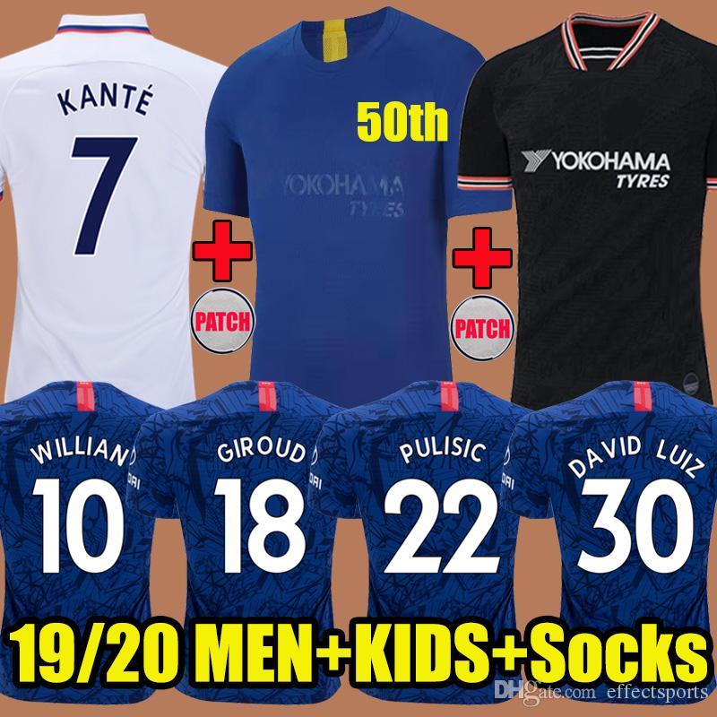 Thailand 2019 KANTE PULISIC Fourth Cup Soccer Jersey 4TH Kits Home Away Third 2020 MOUNT ABRAHAM ODOI 19 20 Camiseta de football kids shirt