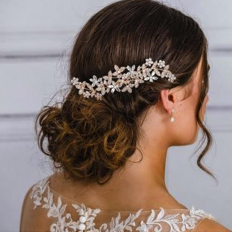 Rose Gold Color Wedding Hair Combs For Bride Crystal Rhinestones Pearls Women Hairpins Bridal Headpiece Hair Jewelry Accessories T190625