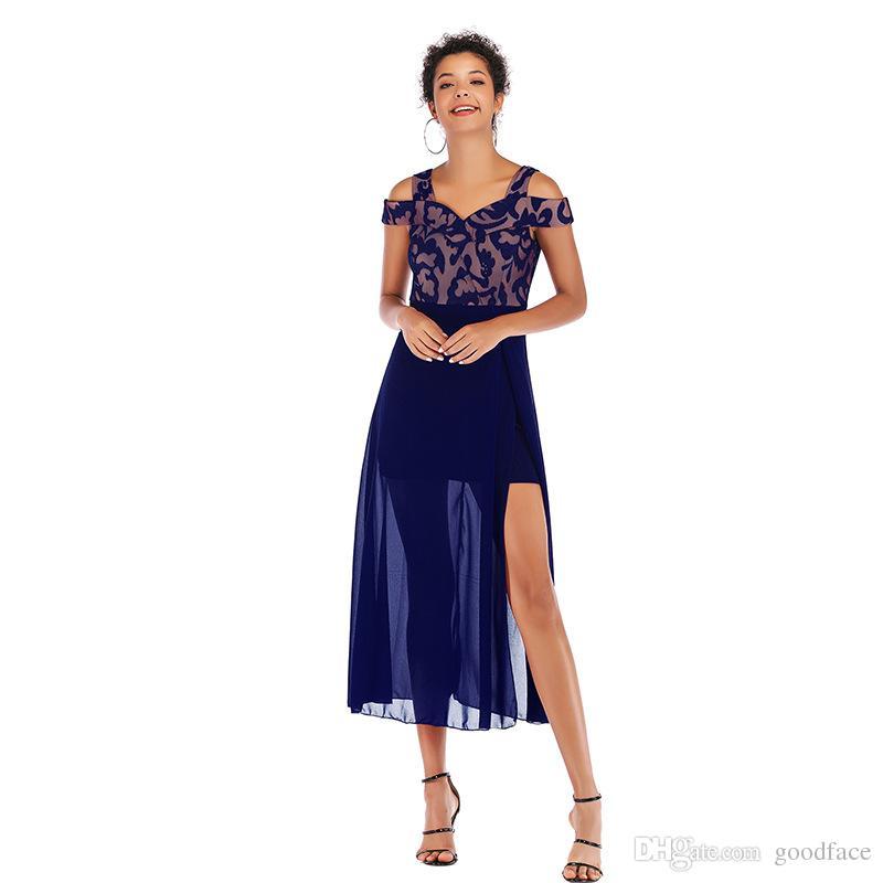 2019 nuovi abiti alla spalla elegante abiti da donna slash collo sexy abiti da sera club party elegante vestito patchwork maglia spaccata