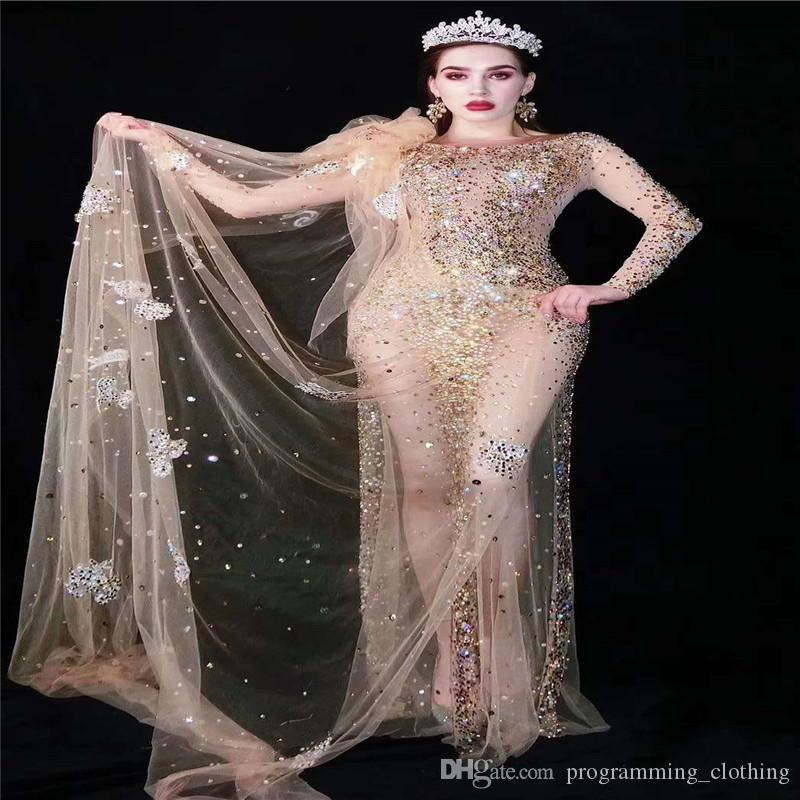 V13 Passarela strass traje do estágio de ouro de malha saia perfuração longo vestido de noite de cristal ver através de um pedaço partido de disco roupa dj veste