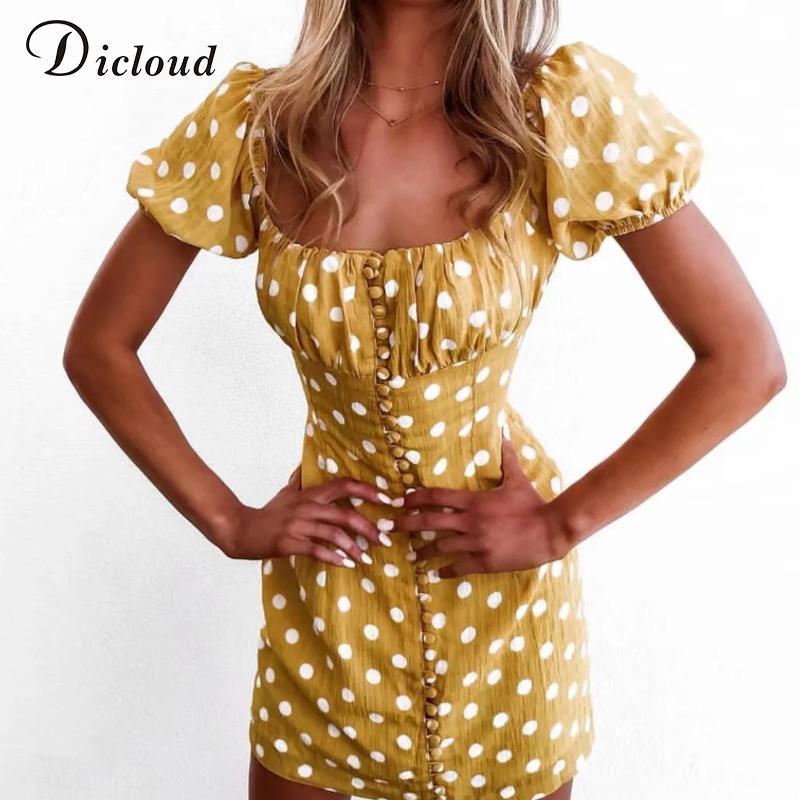 DICLOUD casuale Pois mini vestito da Piazza Giallo Estate Collare Puff Beach manicotto Sundress Pulsante Up Front sexy femminile vestiti