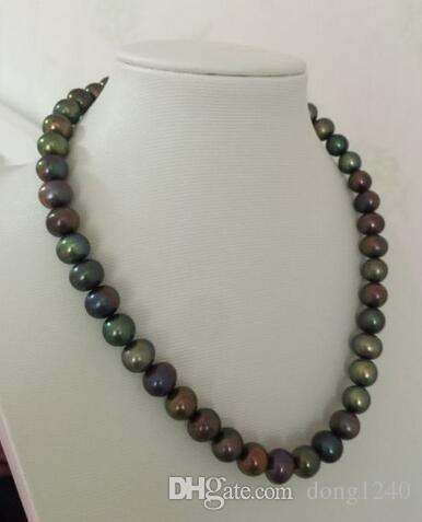 Ошеломляющий 9-10-миллиметровый черный многоцветный таитянское круглое жемчужное ожерелье 18 дюймов 925 серебро