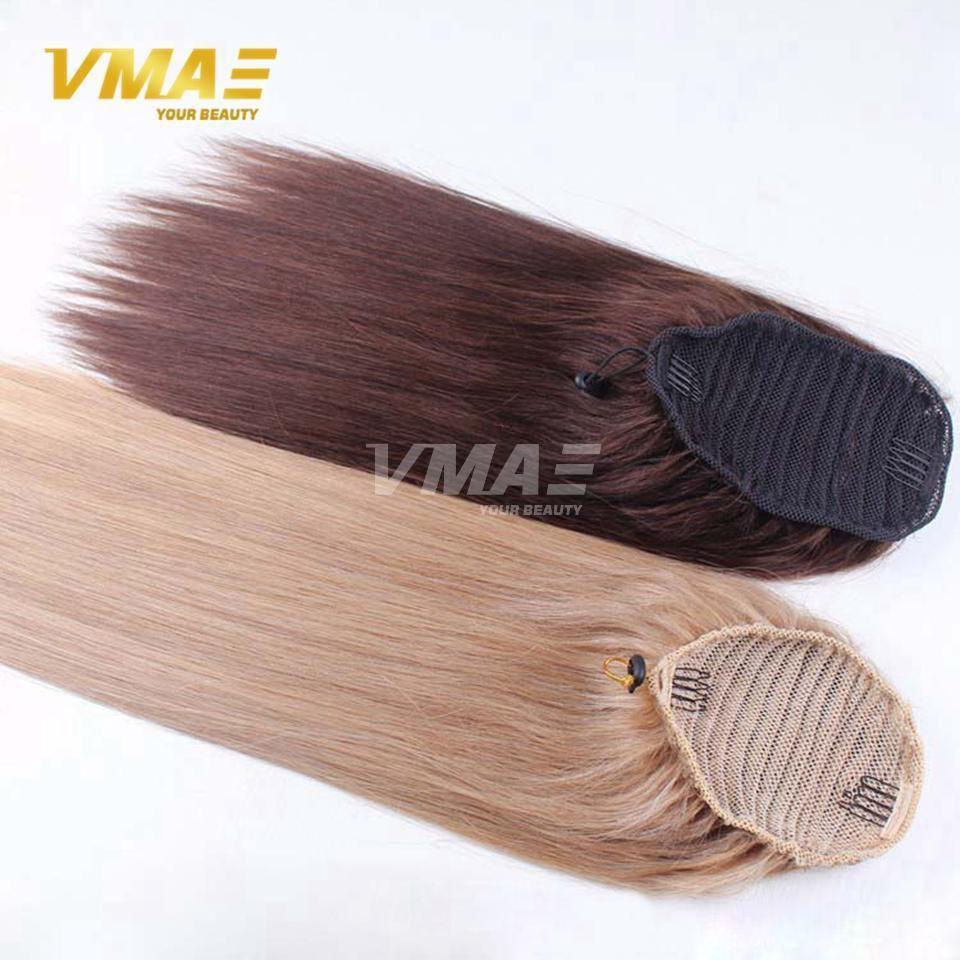 VMAE 120g Natural 613 Brown horsetail tight hole Clip In Straight Drawstring Ponytail Virgin human Hair Extensions