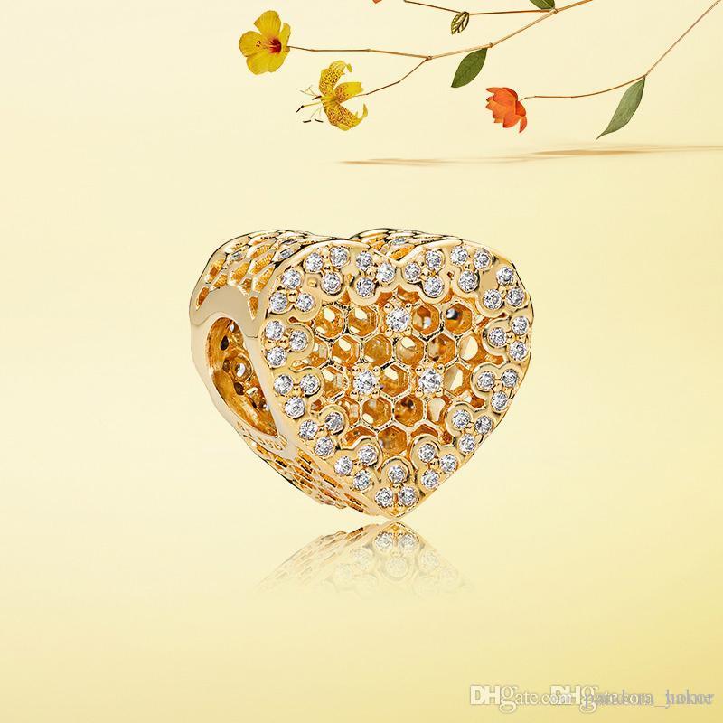 الفاخرة 18 كيلو الذهب الأصفر القلب العسل سحر مجموعة الأصلي مربع ل باندورا 925 فضة diy سوار سحر مجوهرات اكسسوارات